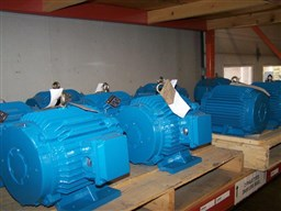 Dry kiln motors in stock ready for shipping at client's venue in North America and Europe